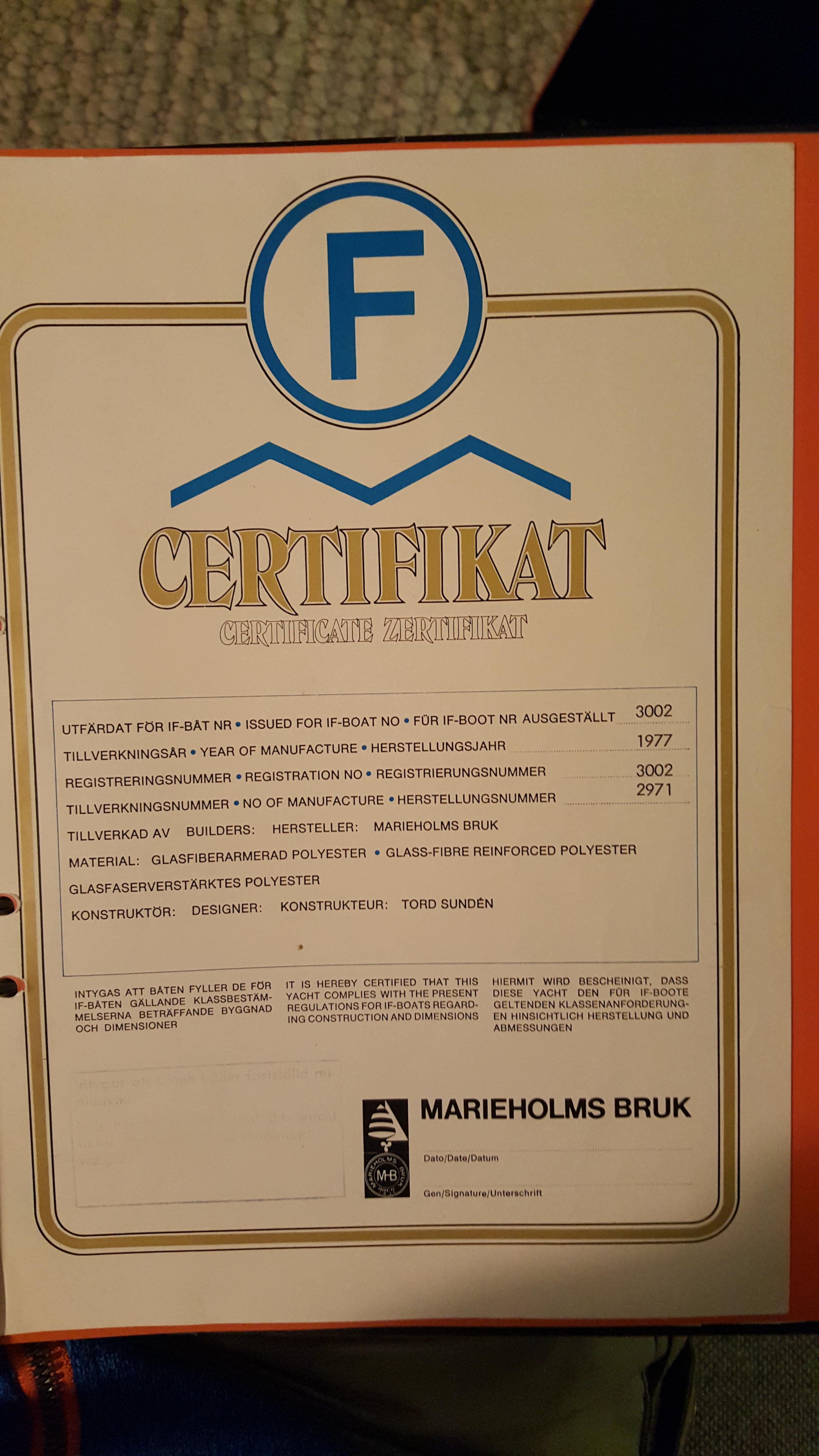 Certificaat bij IF Olijfje
